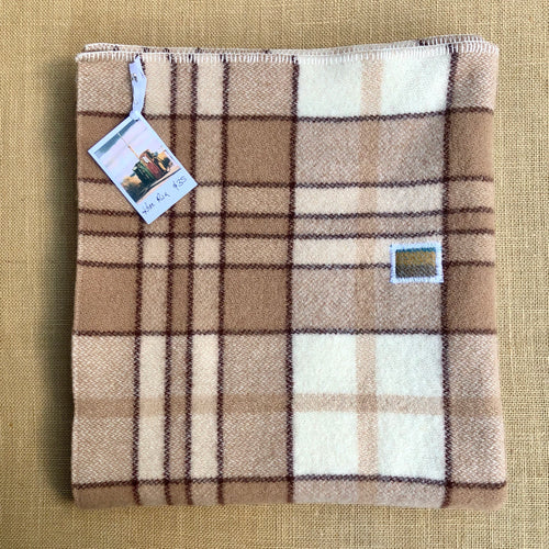 KNEE/OFFICE/PRAM blanket in warm check colours - Fresh Retro Love NZ Wool Blankets