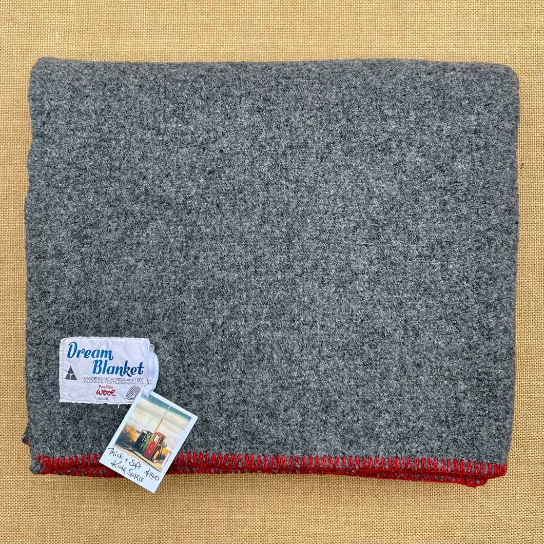 Soft Grey Army Blanket KING SINGLE with Red Stripe New Zealand Wool Blanket