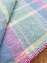 Load image into Gallery viewer, Soft Mint, Blue & Pink Check DOUBLE Pure Wool Blanket.