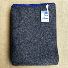 Load image into Gallery viewer, Grey Soft Army Blanket SINGLE with Blue Blanket Stitched Edge - Fresh Retro Love NZ Wool Blankets