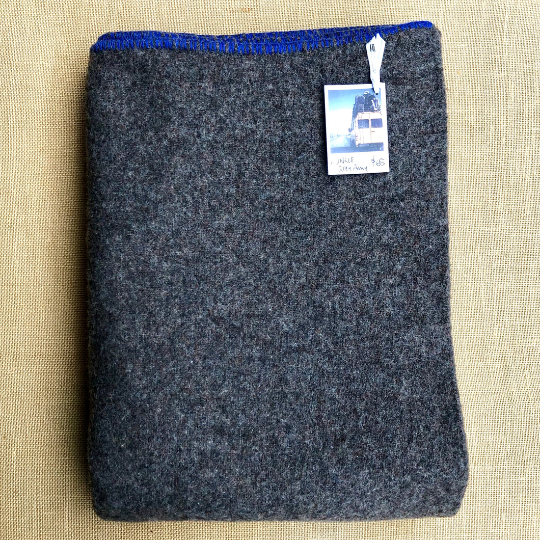 Grey Soft Army Blanket SINGLE with Blue Blanket Stitched Edge - Fresh Retro Love NZ Wool Blankets