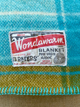 Load image into Gallery viewer, Bright Retro Turquoise THROW New Zealand Wool Blanket