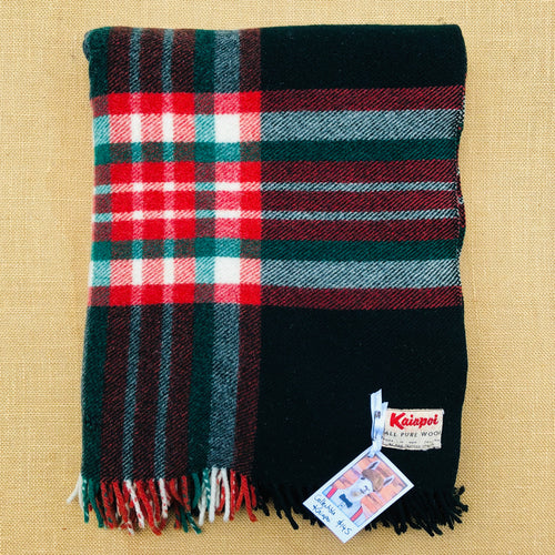 Collectible Kaiapoi TRAVEL RUG - Dark Green, Red and Cream - Fresh Retro Love NZ Wool Blankets