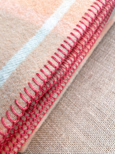 Soft Melon & Sage Kaiapoi SMALL SINGLE New Zealand Wool Blanket