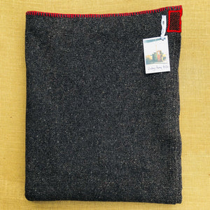 Genuine Vintage Grey Army Blanket SINGLE Wool with Red Edge and Patches