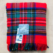 Load image into Gallery viewer, Classic Red, Green & Blue Tartan TRAVEL RUG - Glenfiddich Whiskey - Fresh Retro Love NZ Wool Blankets
