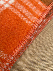 Retro Orange & Olive SINGLE NZ Wool blanket