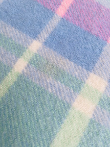 Soft Mint, Blue & Pink Check DOUBLE Pure Wool Blanket.