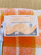 Load image into Gallery viewer, BARGAIN SPECIAL!  SINGLE Wool Blanket WOOL BLEND Bright Orange Retro