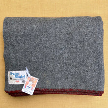 Load image into Gallery viewer, Soft Grey Army Blanket DOUBLE with Red Stripe New Zealand Wool Blanket