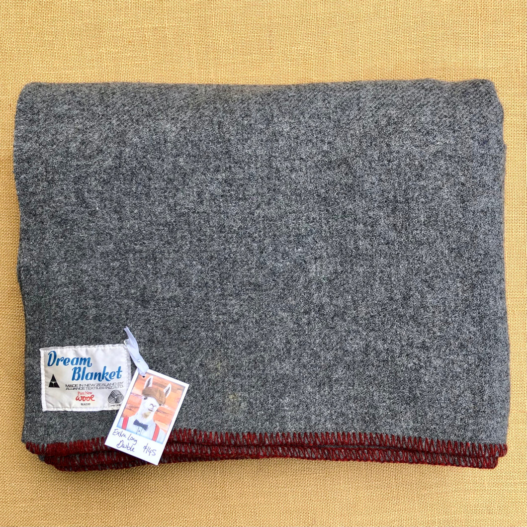 Soft Grey Army Blanket DOUBLE with Red Stripe New Zealand Wool Blanket