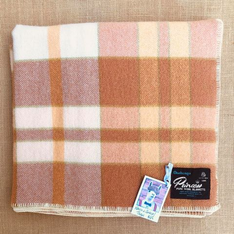 Onehunga New Zealand Wool SINGLE/THROW Blanket in Warm Check Colours - Fresh Retro Love NZ Wool Blankets