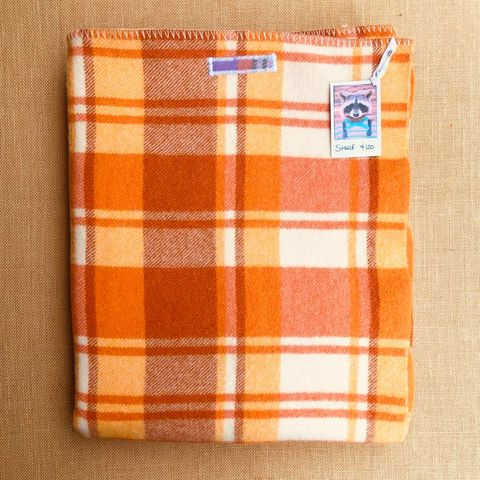 Bright Retro Orange SINGLE Wool blanket - Calling this guy Two Patch! - Fresh Retro Love NZ Wool Blankets