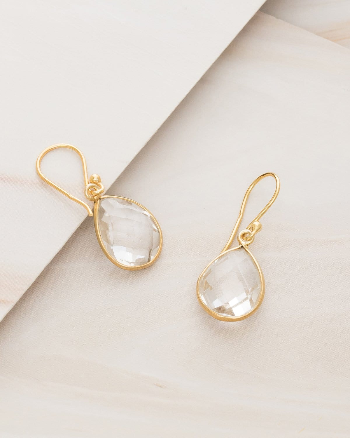 Emblem Jewelry Earrings Clear Quartz Small Candy Quartz Gemstone Drop Earrings