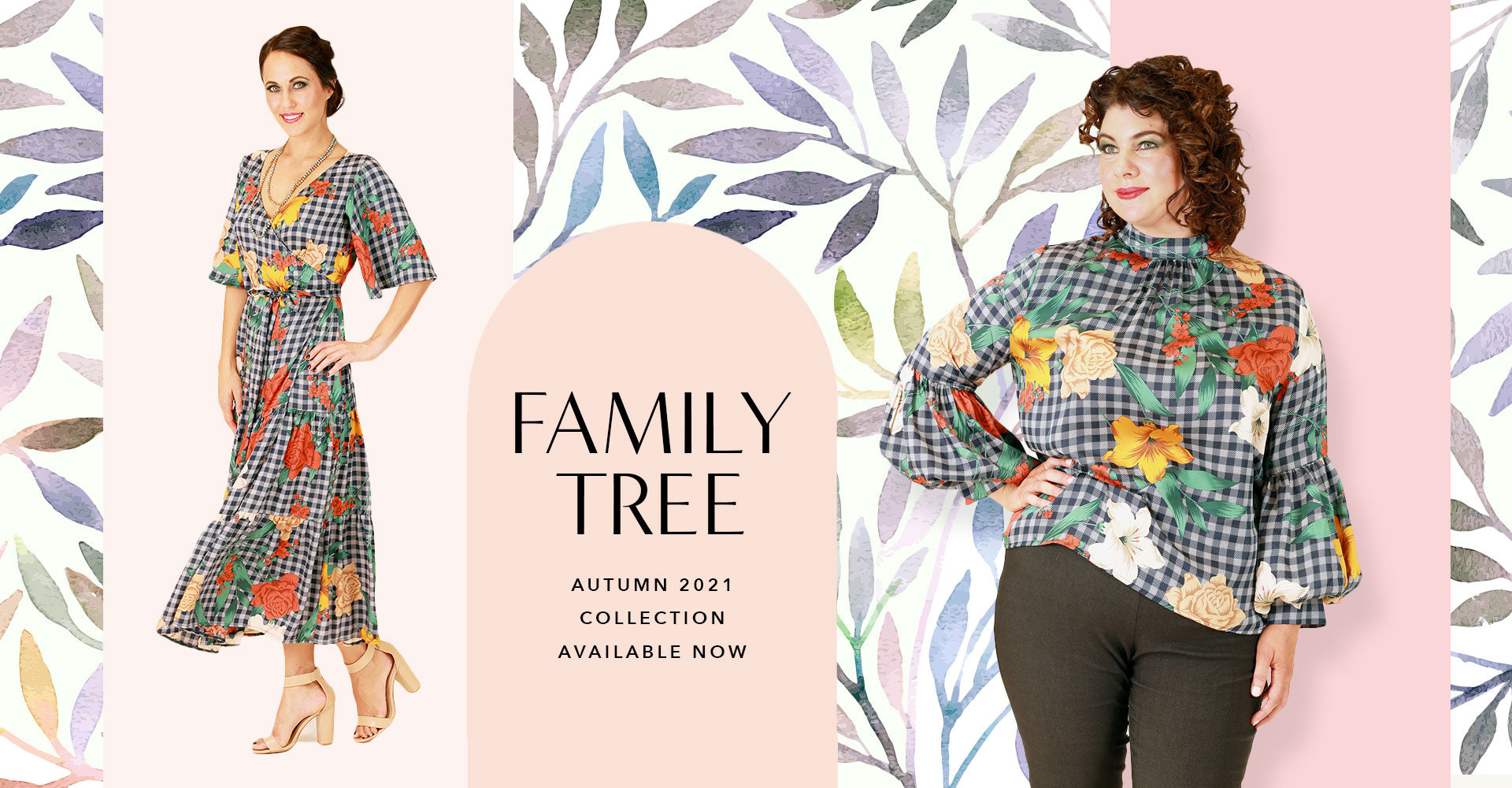family tree autumn winter collection logo with madly margo dress and renne top in navy plaid