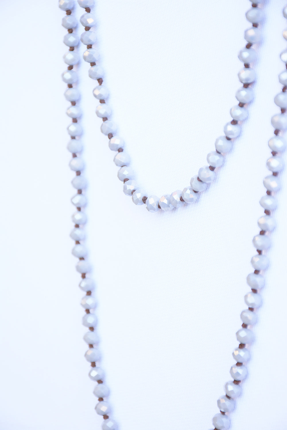 Glass Bead Necklace  - Grey