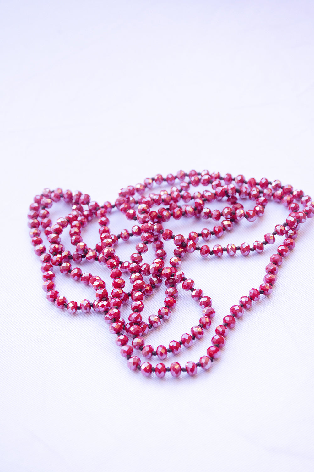 Glass Bead Necklace - Red