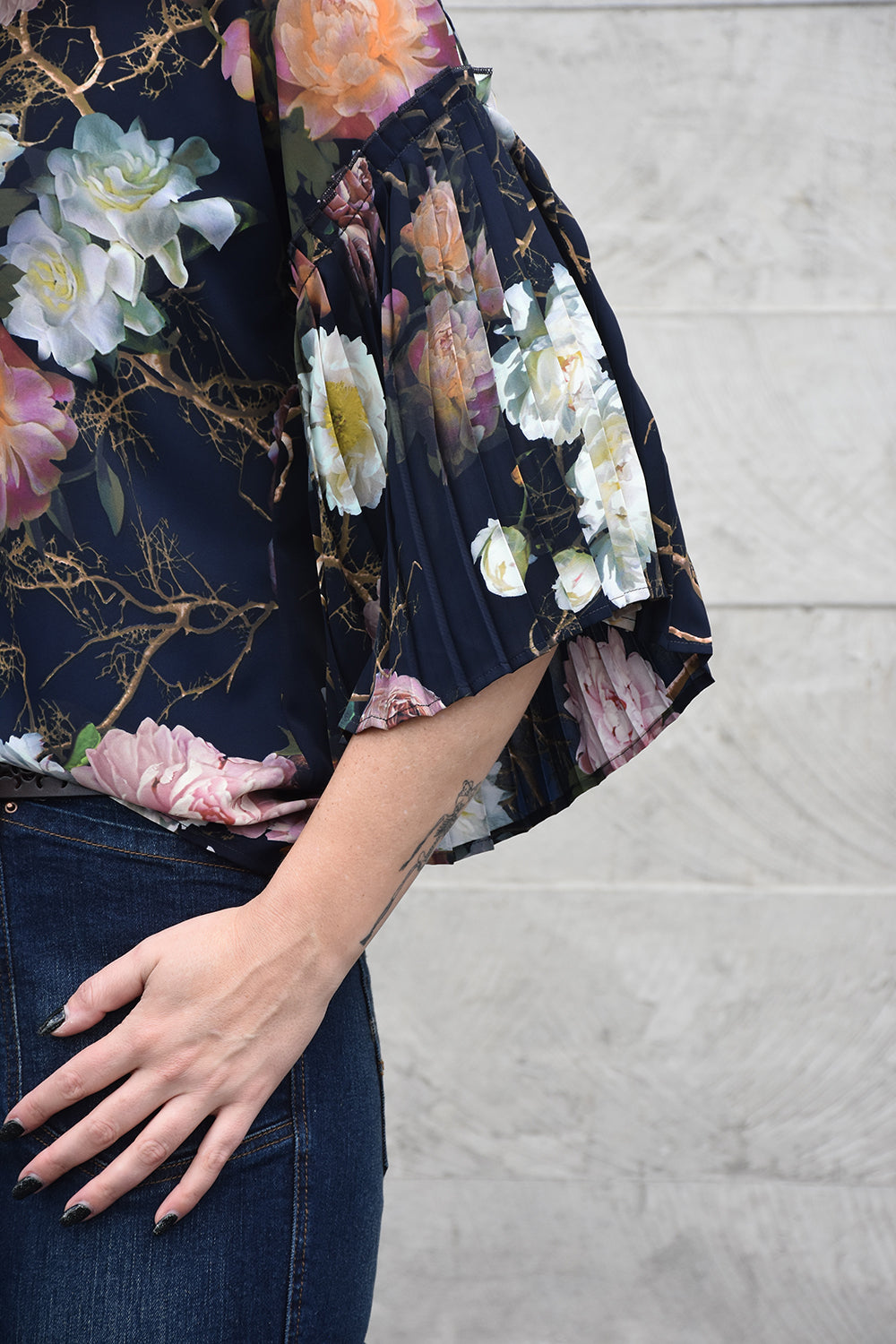 Love Polly Top - Navy Floral