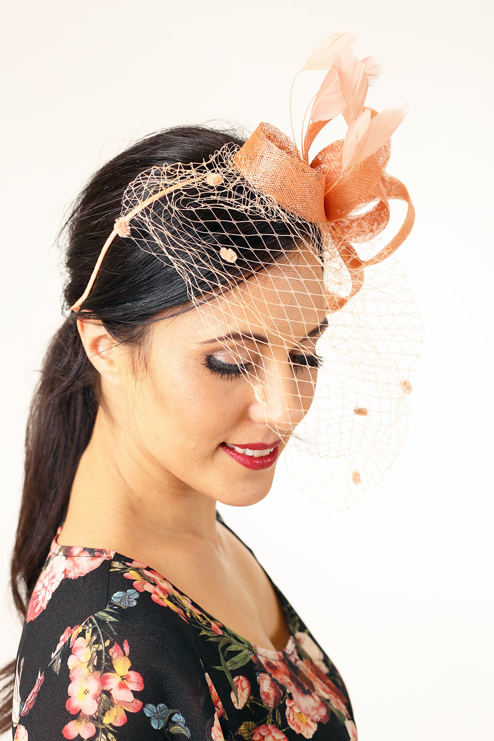 Rosie Band Fascinator - Peach