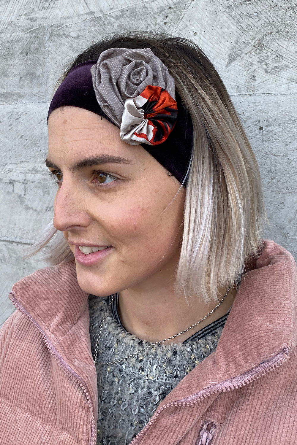 Valentina Headband - Brown/Purple Velvet Band