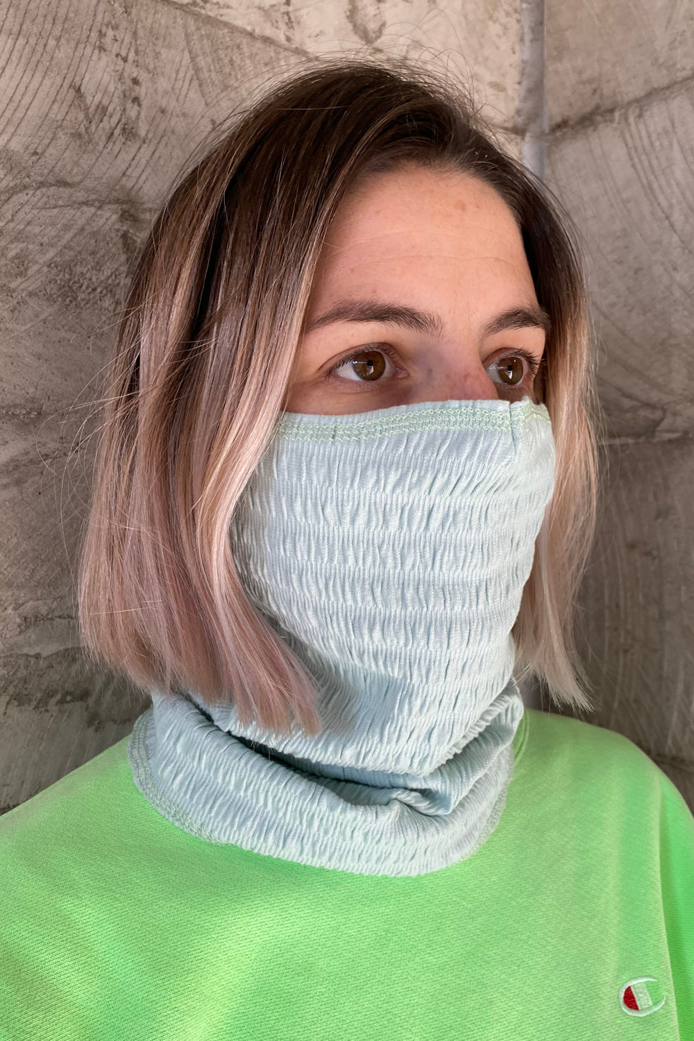 Full Face Knit Mask - Mint