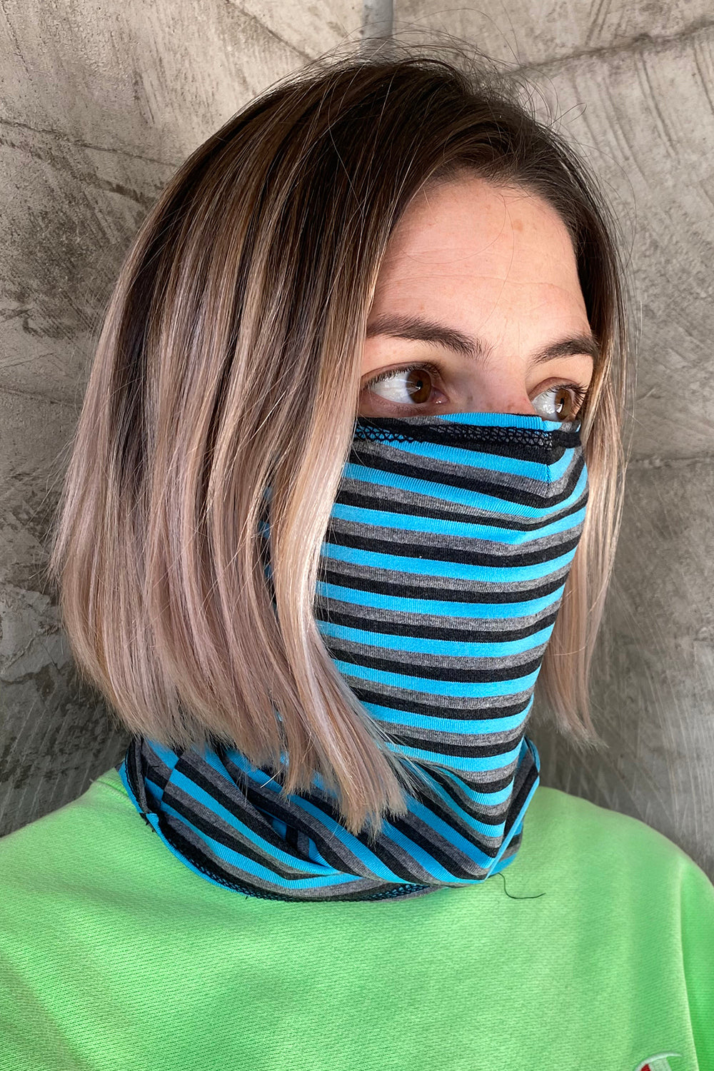Full Face Knit Mask - Blue Stripe