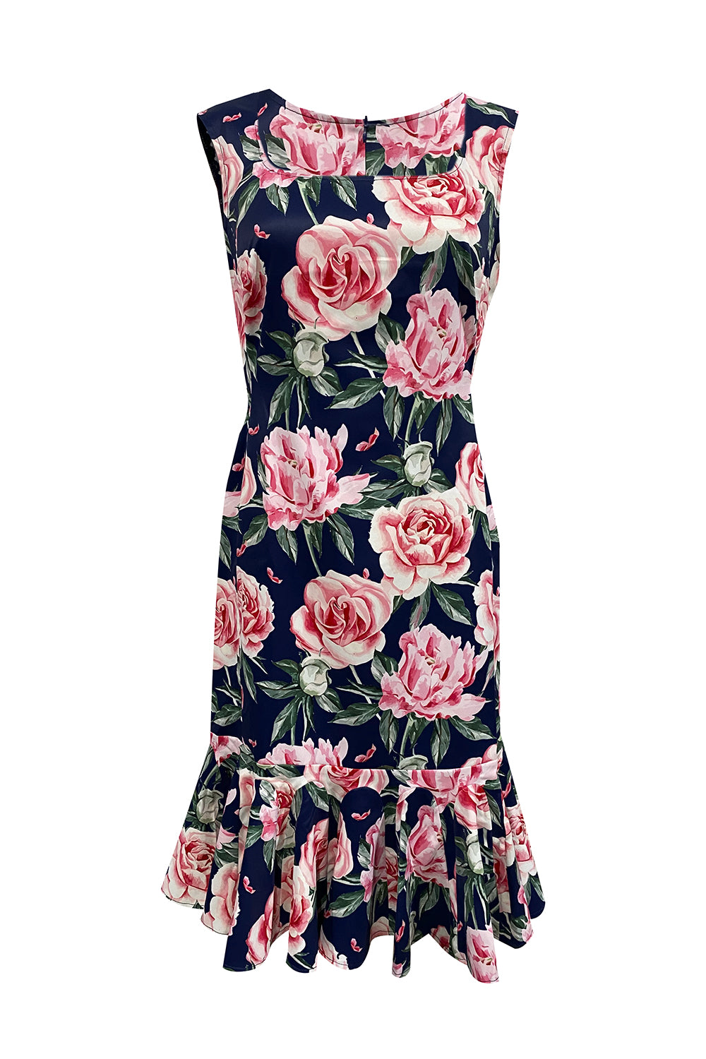 The Lost Lolly Dress - Annah Stretton Navy Floral Dress Knee Length Mother of the Bride Dress
