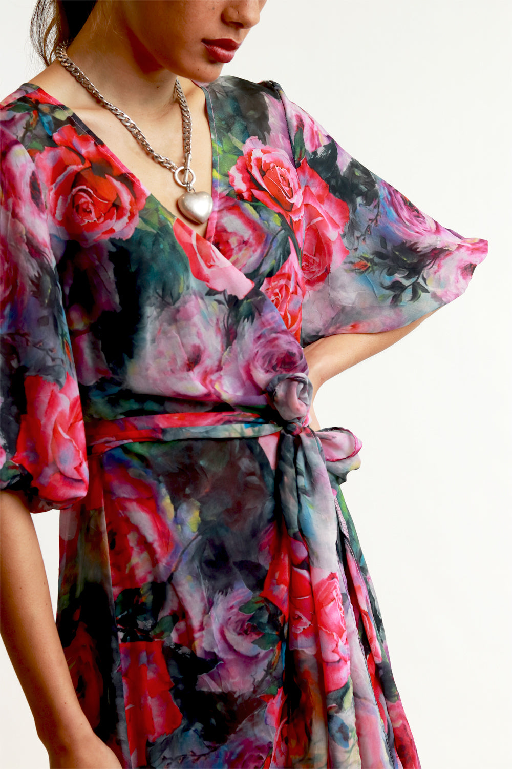 Annah Stretton pink floral wrap dress with puff sleeve