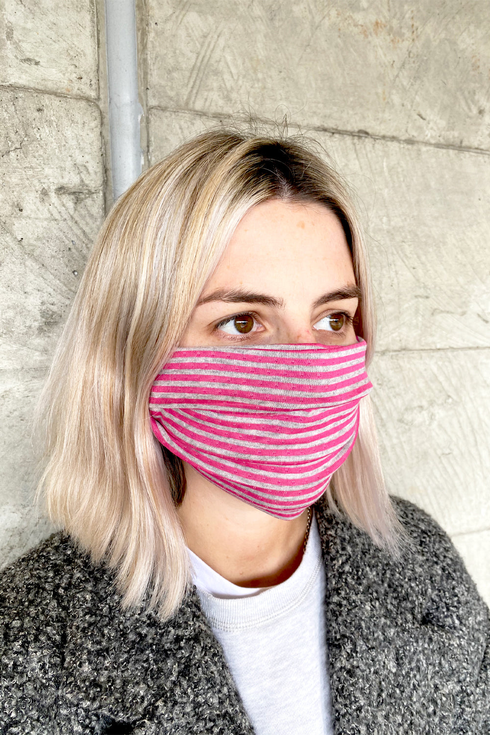 Teenage / Youth Reusable Cotton Knit Face Mask - Pink Pack of 2