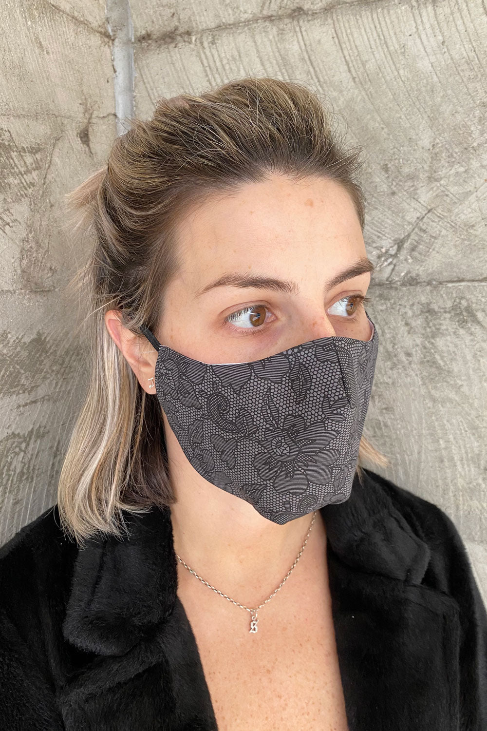Women's Simplistic Cotton Face Mask (With Helix.iso Filter) - Grey Floral