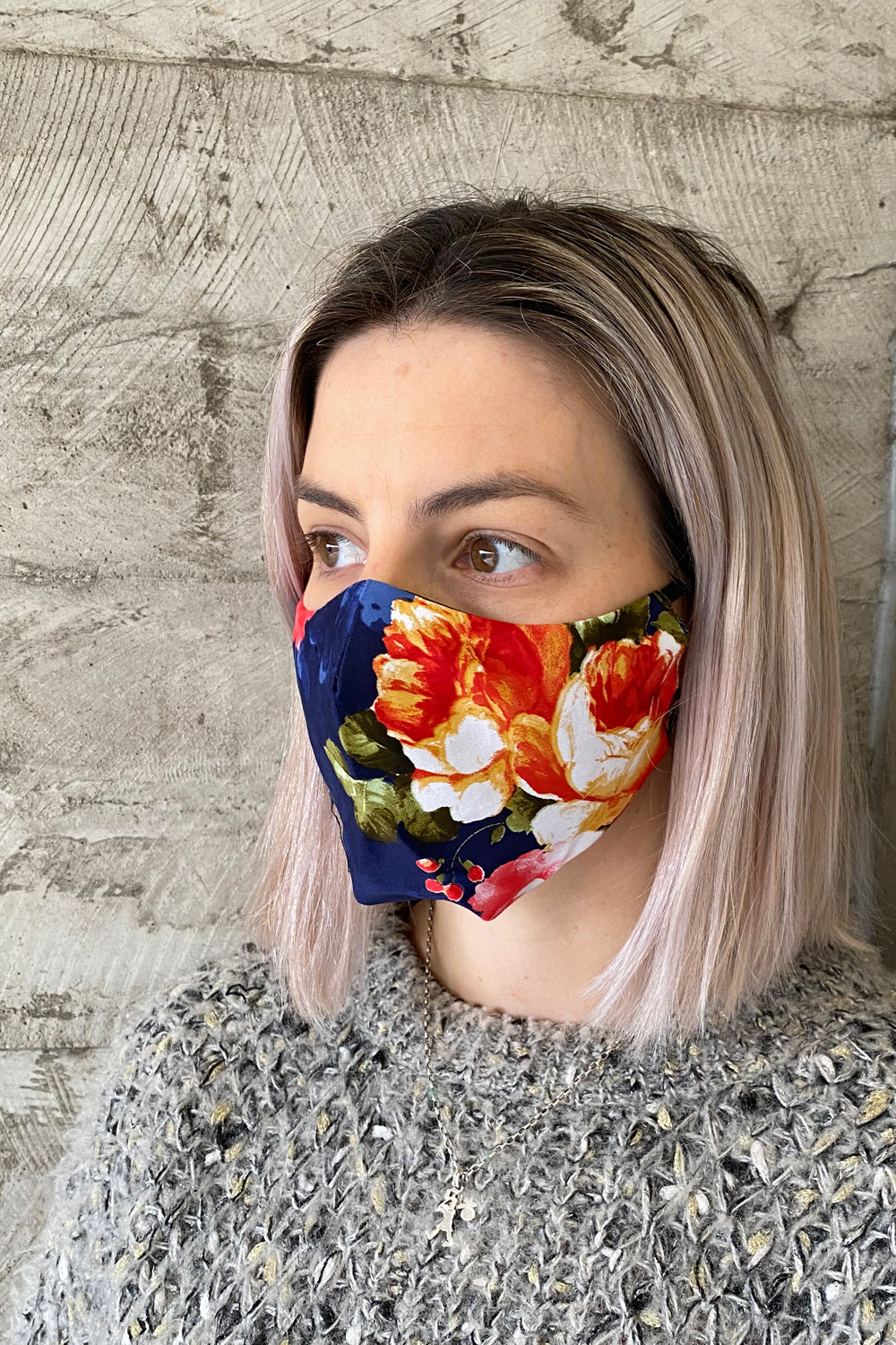 Women's Simplistic Cotton Face Mask - Navy Rose