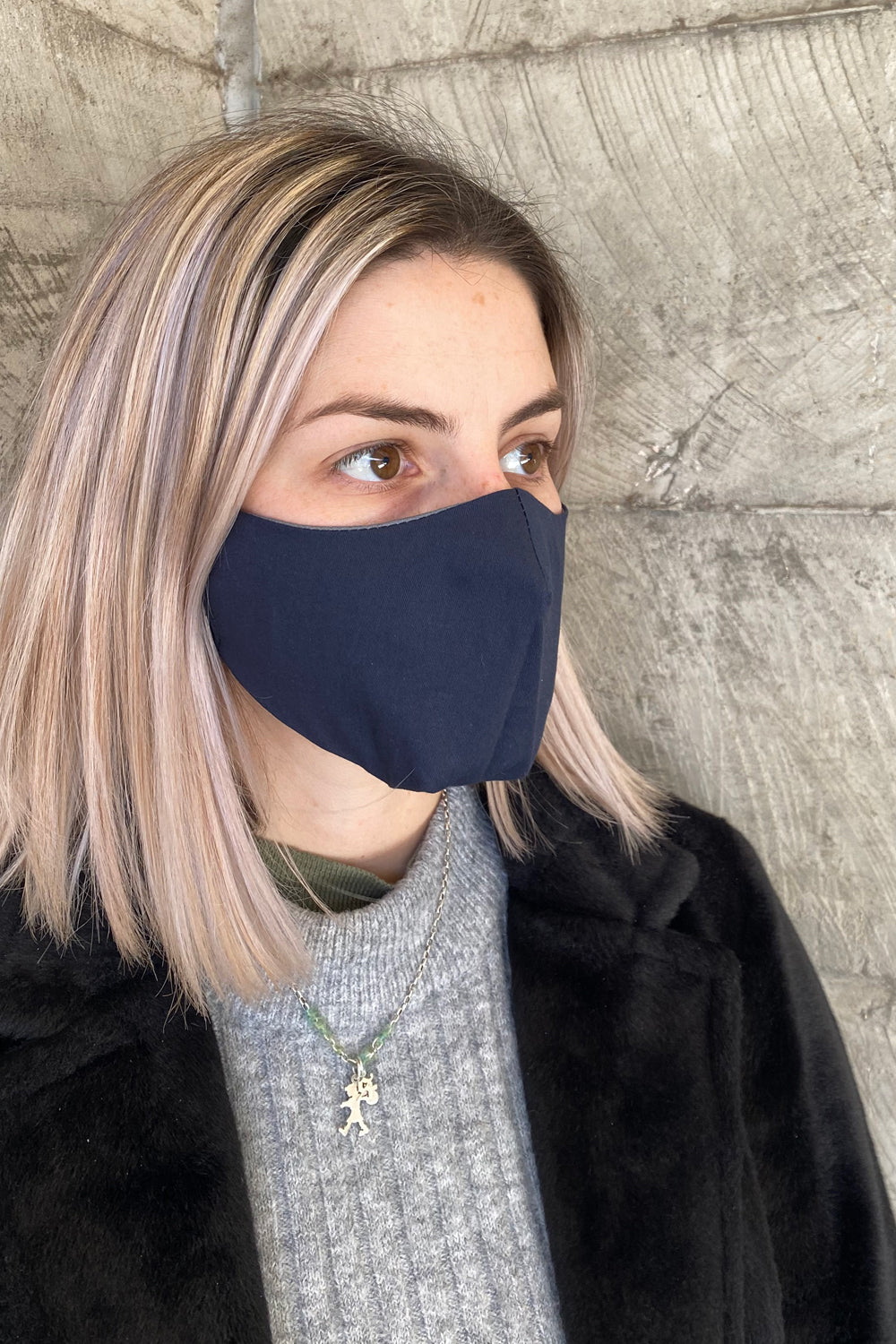 Women's Simplistic Cotton Face Mask - Navy