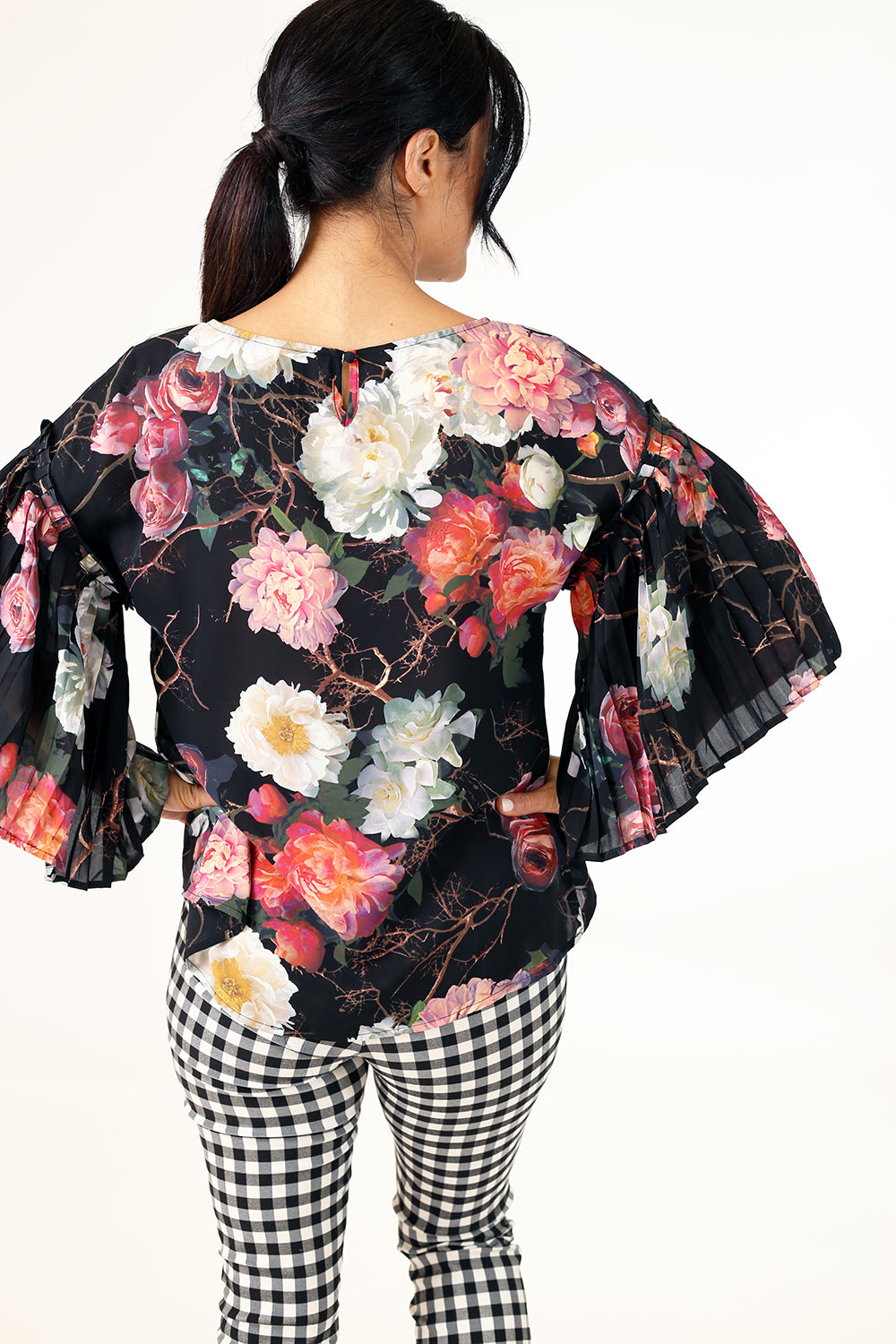 Love Polly Top - Black Floral
