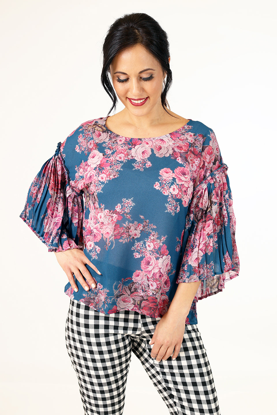 Love Polly Top - Sky Floral