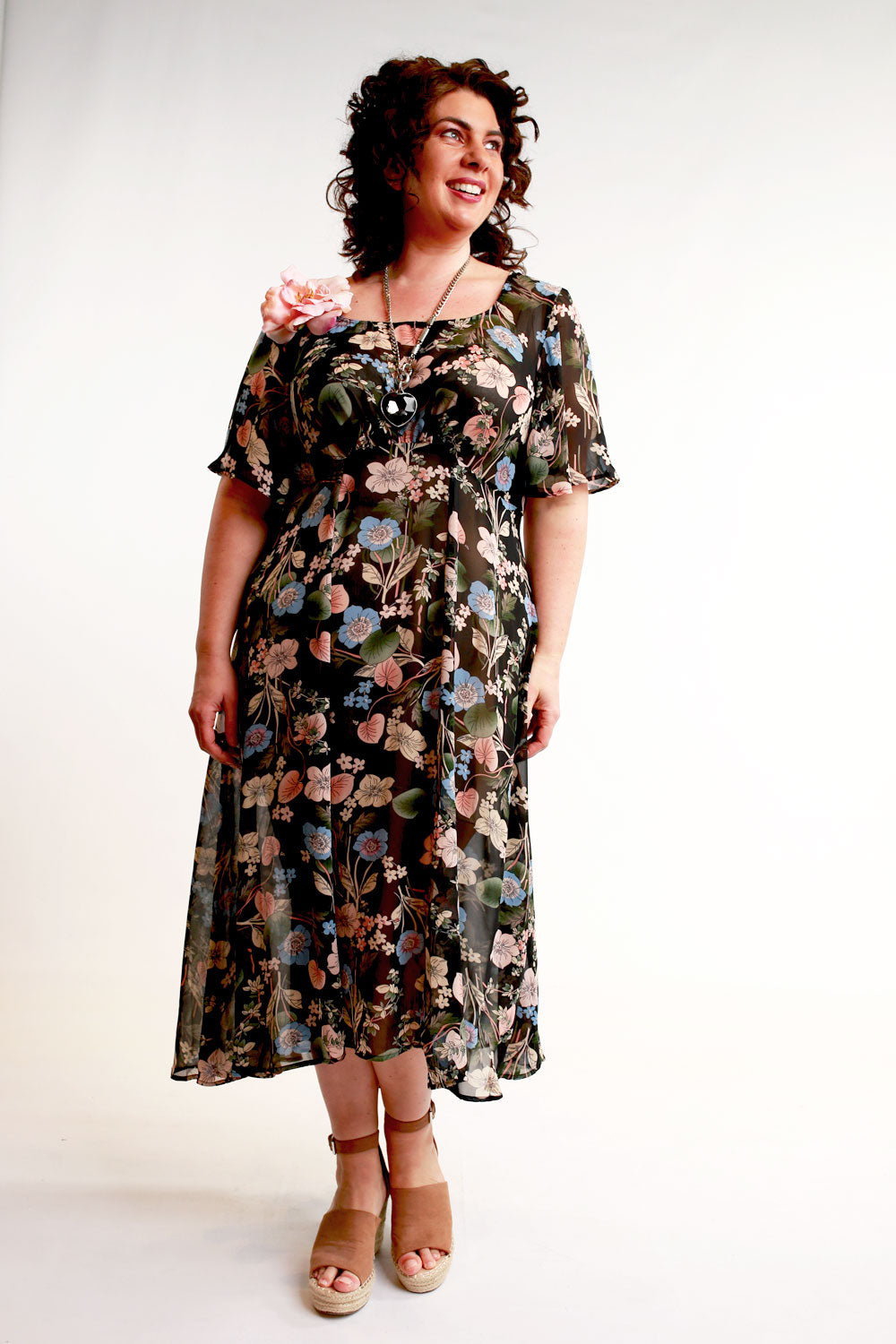Annah Stretton Black Floral Summer dress