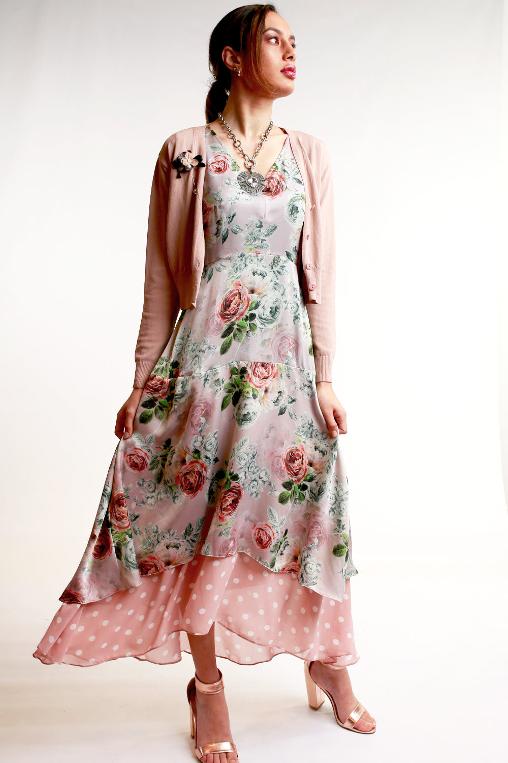 Annah Stretton Pink floral Mother of the bride event dress with Cardi