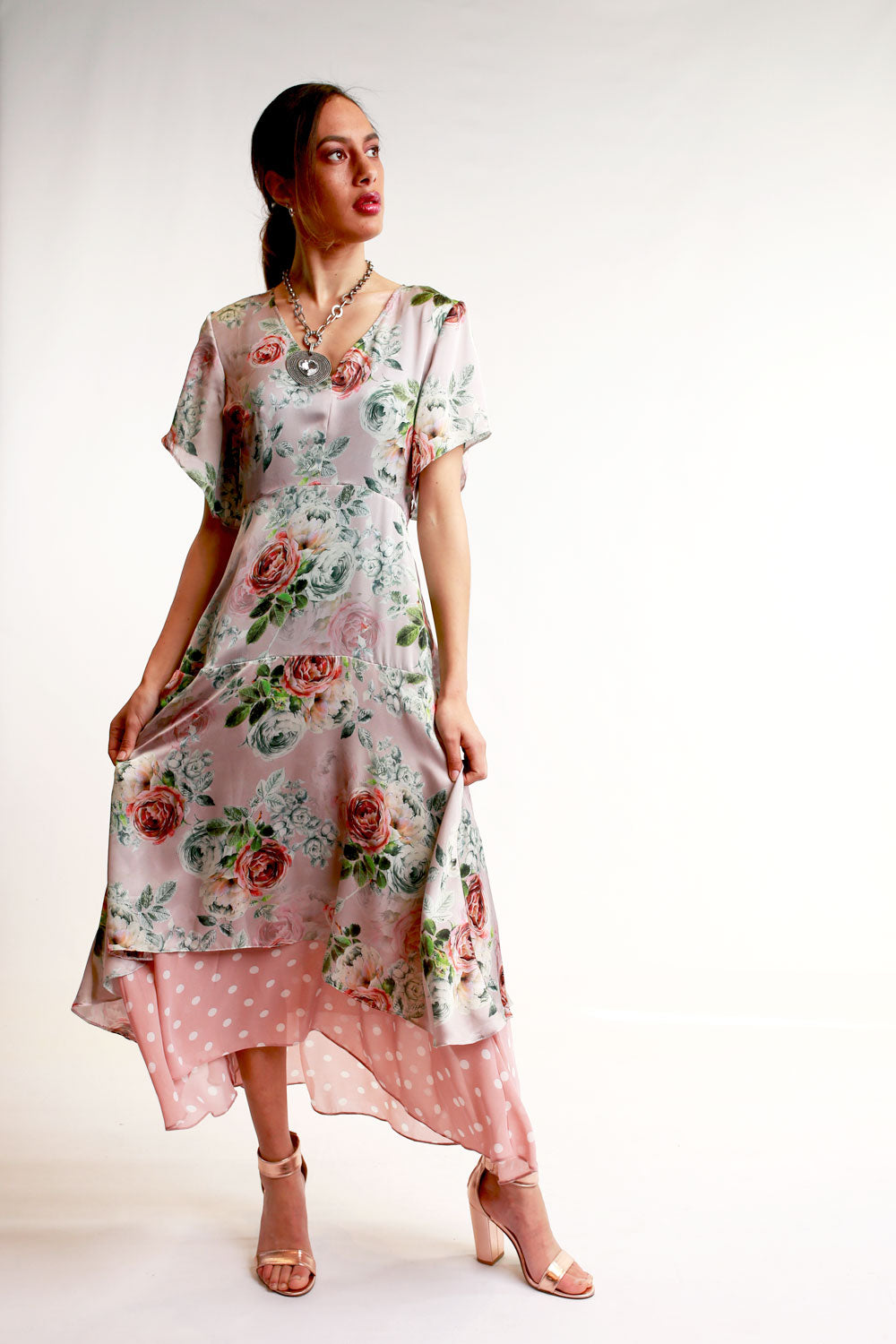 Annah Stretton Pink floral Mother of the bride event dress