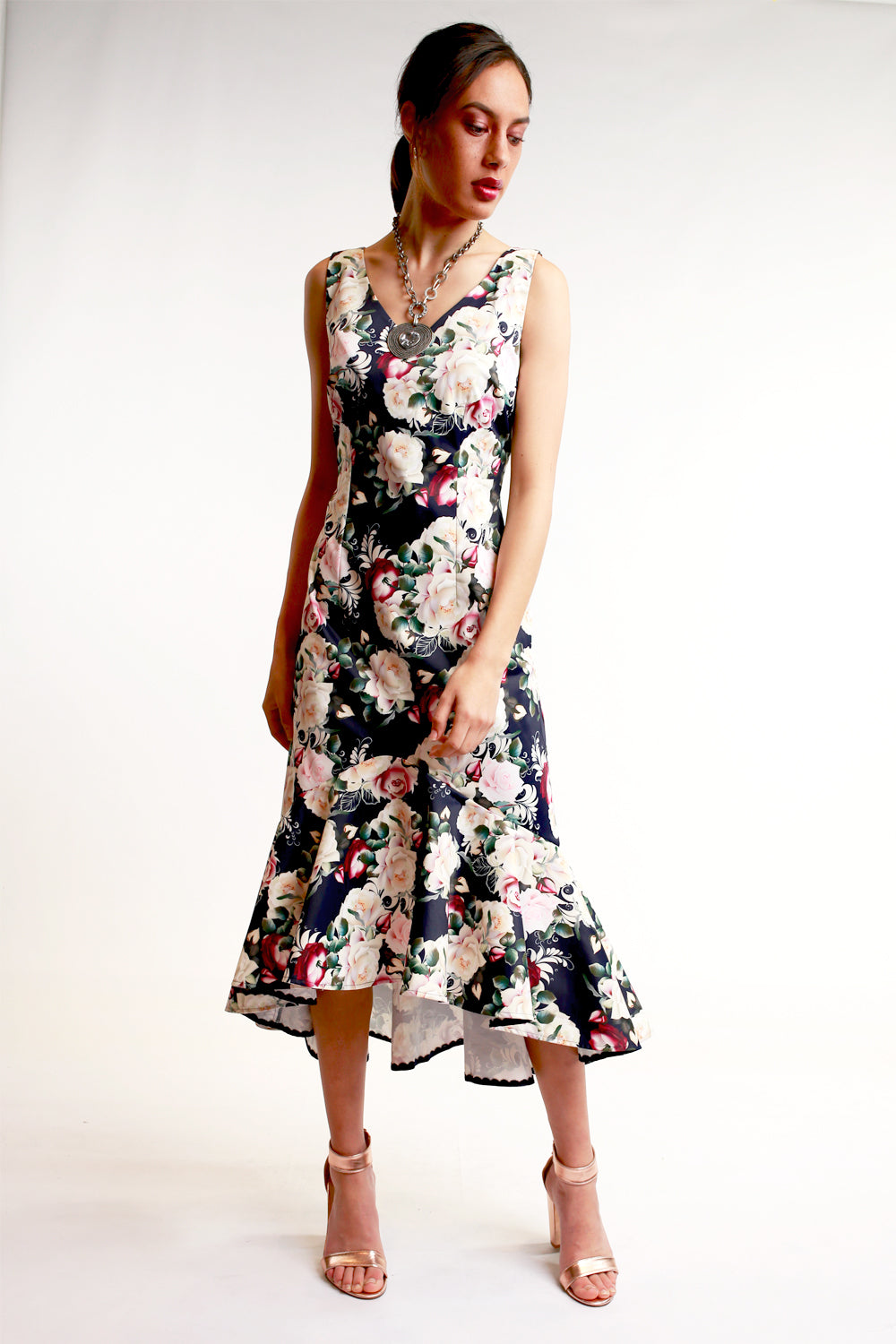 Annah Stretton Navy Floral dress 3/4 length