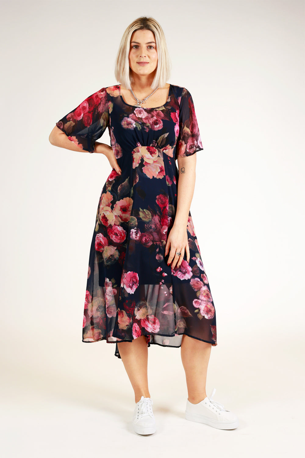 Down Town Dress - Navy Floral