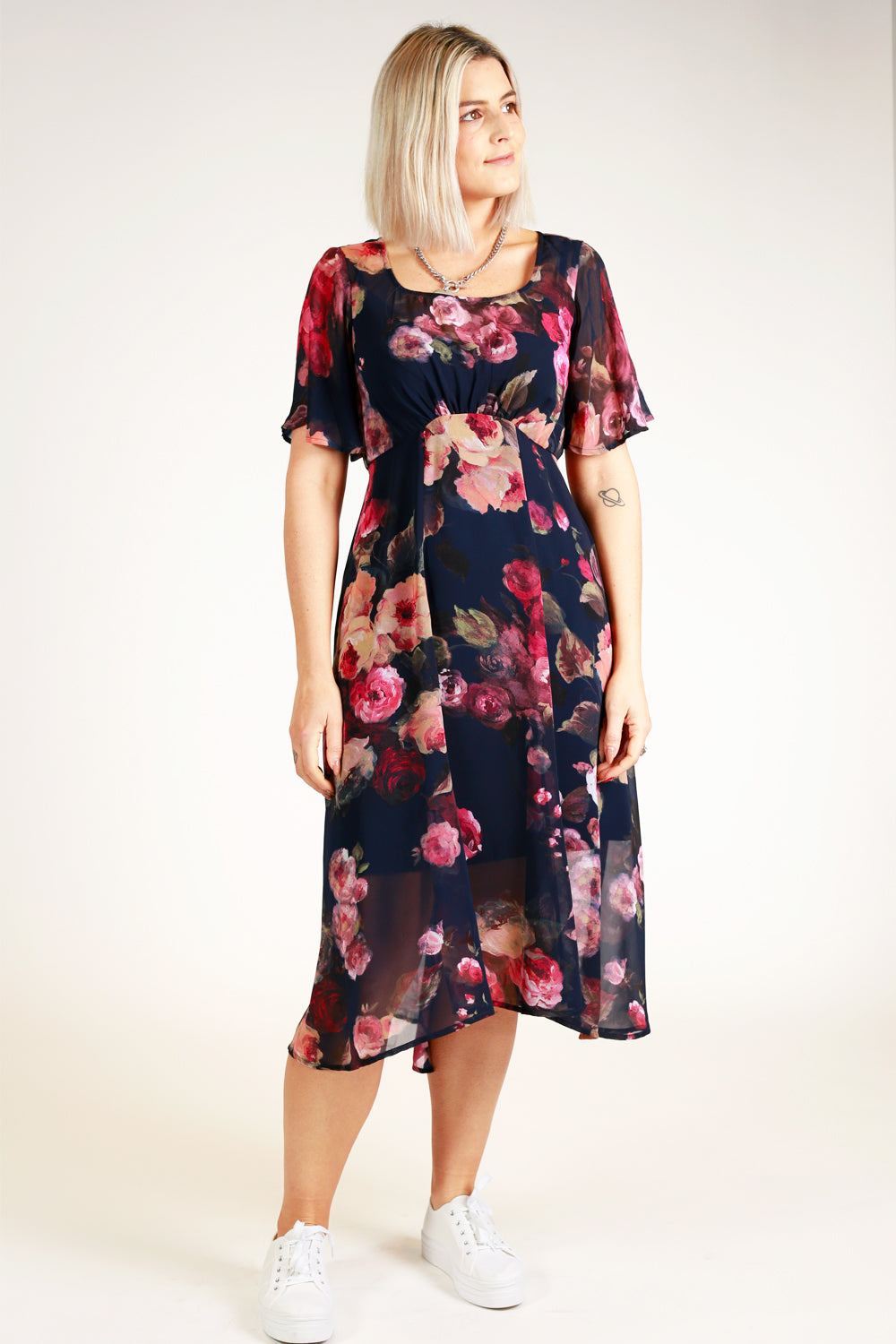 Down Town Navy Floral Dress
