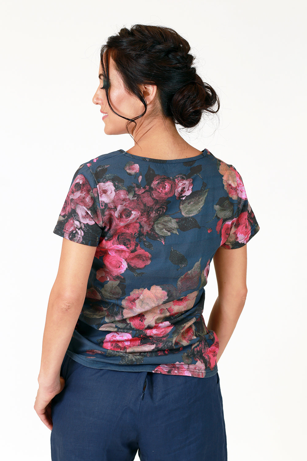 abigail navy v neck tshirt with pink rose floral print tee