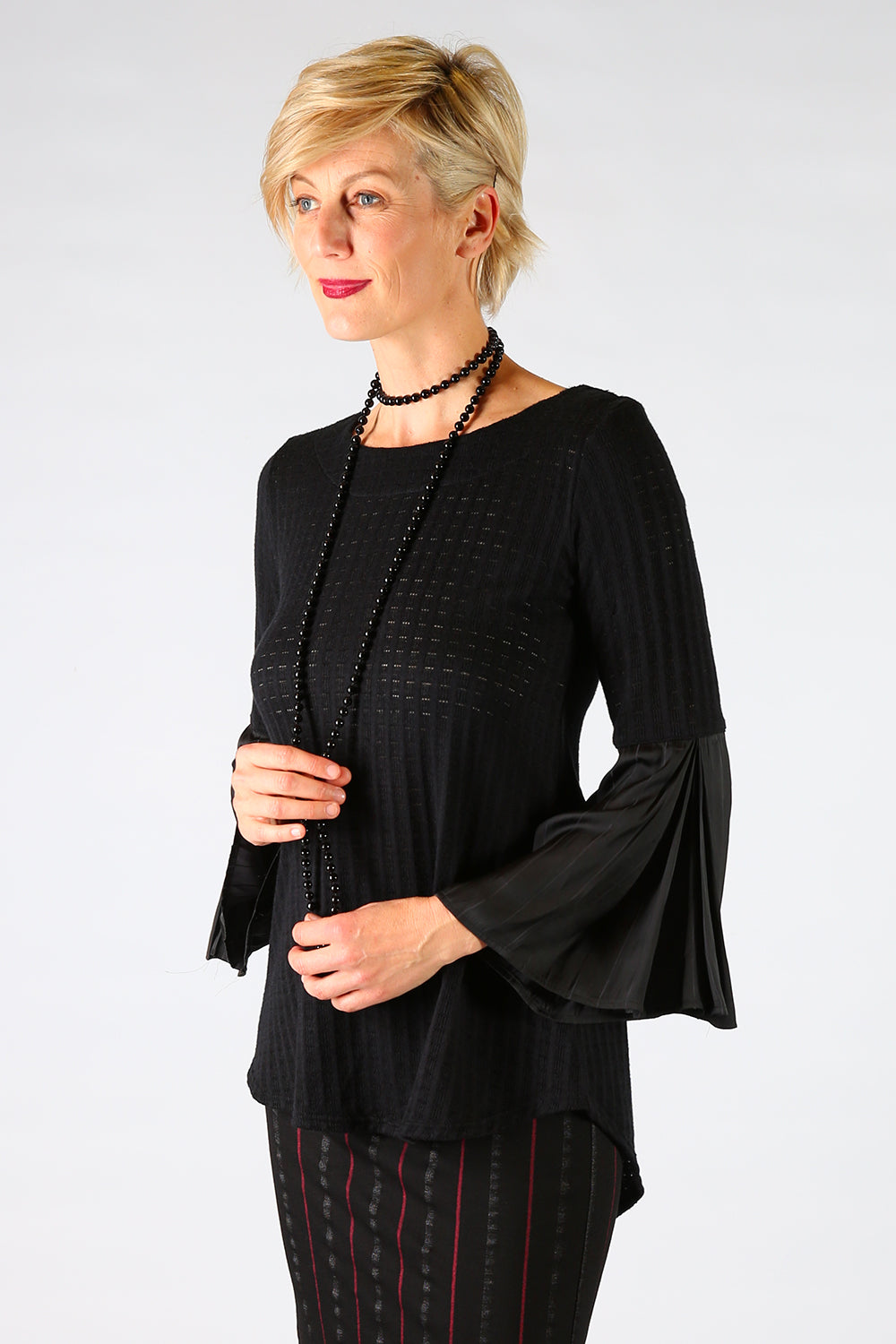 Aleshia Top, Annah Stretton AW19, Flare Sleeve Black Knit Top, Shot on Model