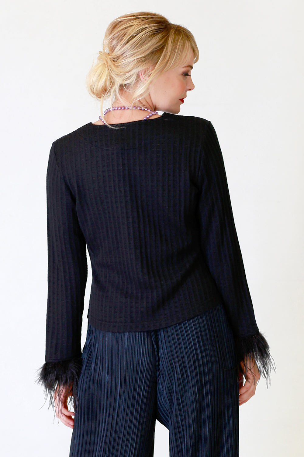 Aleshia Feather Cardigan, Annah Stretton AW19, Statement Sleeve Black Knit Cardigan, Shot on Model