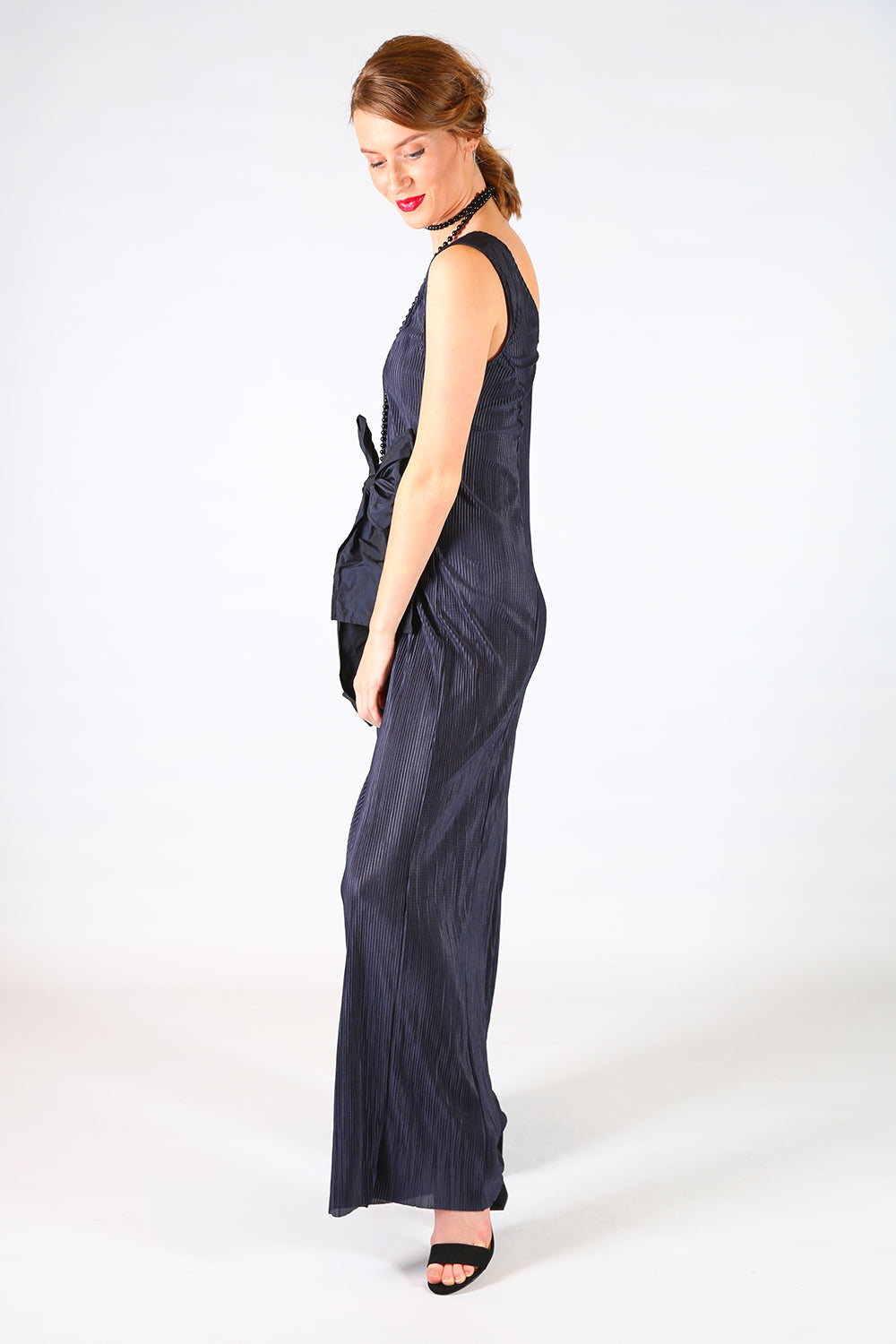 Andie Lee Pleated Jumpsuit, Annah Stretton AW19, Navy Pleated Jumpsuit, Shot on Model