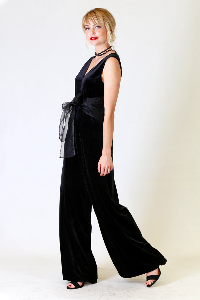 Andie Velvet Jumpsuit, Annah Stretton AW19, Black velvet jumpsuit, Shot on Model