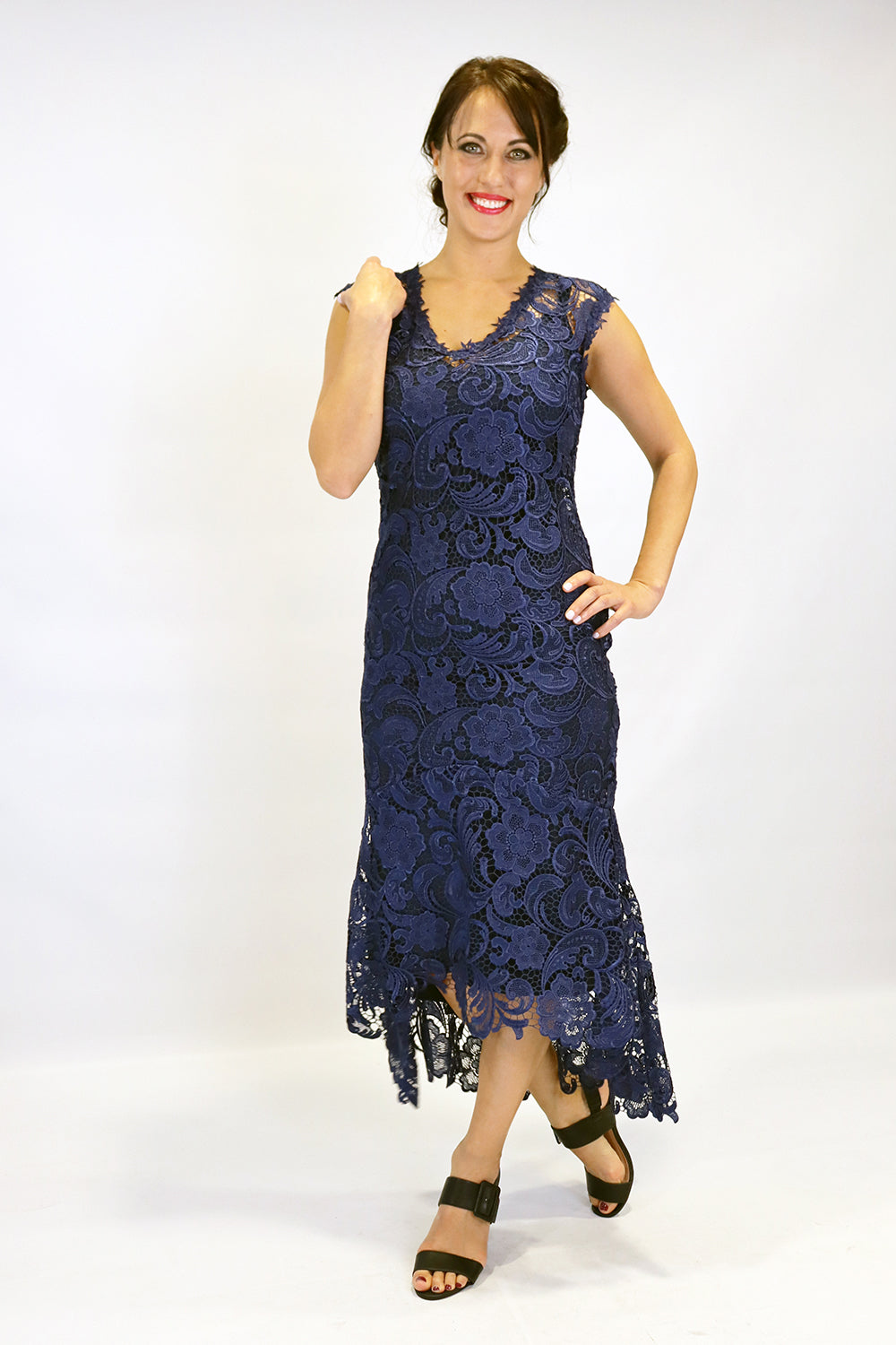 Barika Dress with Slip - Navy - PRE ORDER