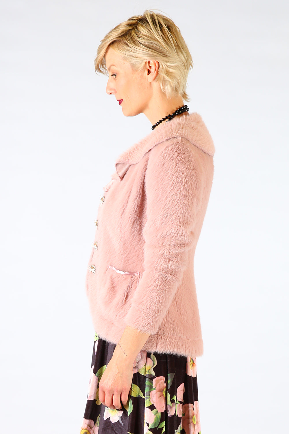 Bewitched Betty Jacket, Annah Stretton AW19, Pink Faux Fur Jacket, Shot on Model