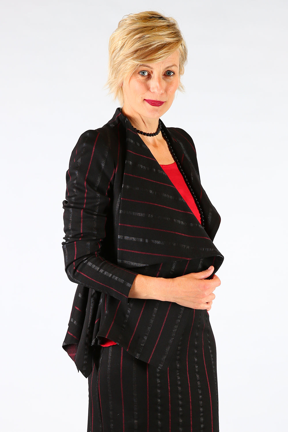 Brenna Brea Jacket, Annah Stretton AW19, Black Stripe Jacket, Shot on Model