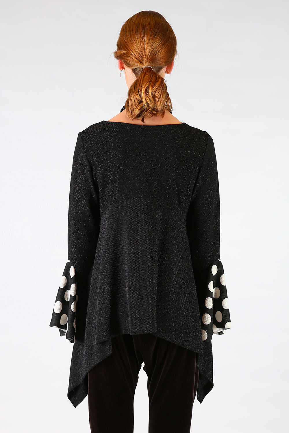 Brianne Top, Annah Stretton AW19, Statement Sleeve Black Knit Top, Shot on Model