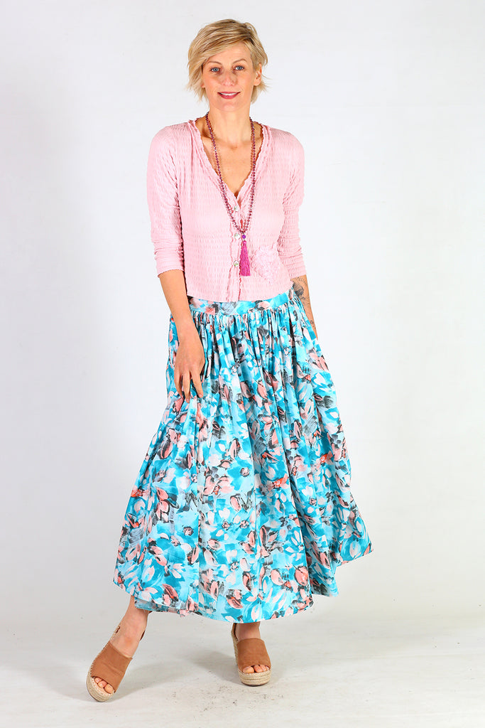 Carin Skirt, Annah Stretton AW19, Blue Floral Mid Length Skirt, Shot on Model, NZ Made